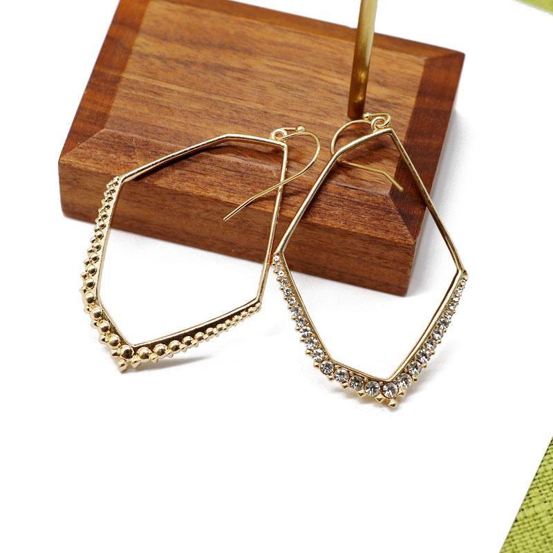 Irregular Geometric Hollow Copper Earrings White Point Diamond Earrings Wild Earrings Wholesale NHOM205778