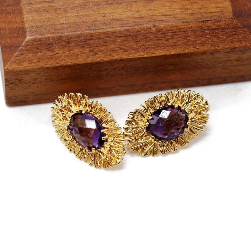 Oval copper base blue purple faceted gemstone stud earrings NHOM205777