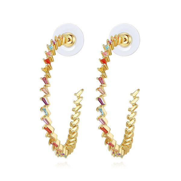 Stud earrings new party ladies copper inlaid zircon earrings gift NHTM205840