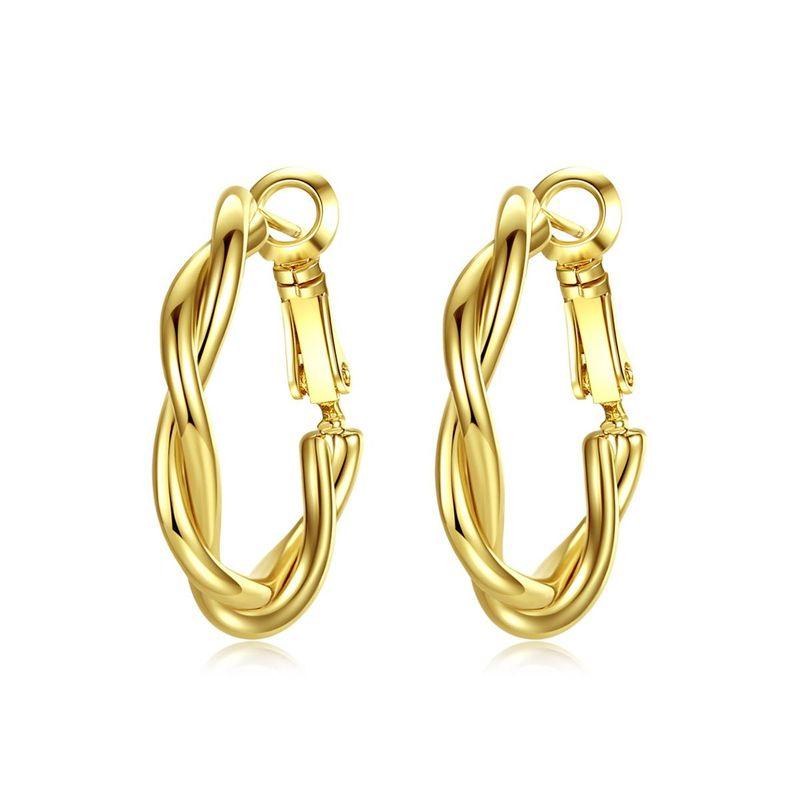 Love empty earrings Korean fashion simple new twist earrings ladies copper earrings NHTM205833