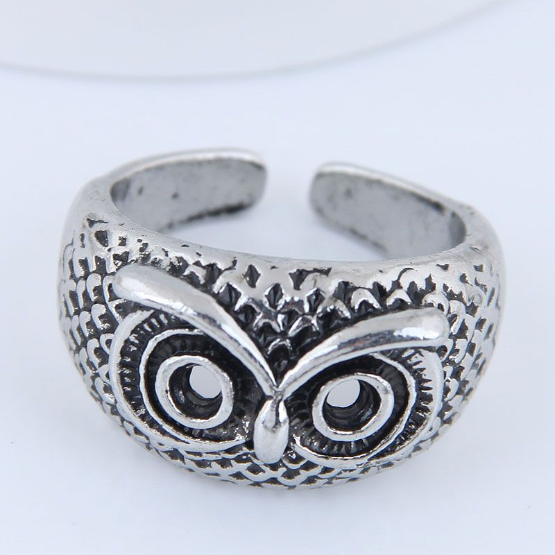 Yiwu jewelry wholesale fashion punk simple owl open ring NHSC206060