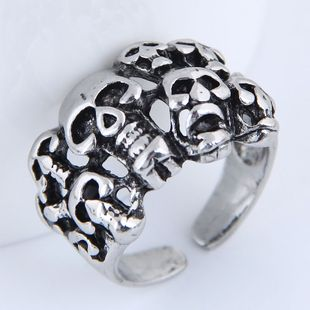 Yiwu jewelry wholesale fashion punk simple retro skull open ring NHSC206057's discount tags
