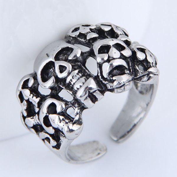 Yiwu jewelry wholesale fashion punk simple retro skull open ring NHSC206057