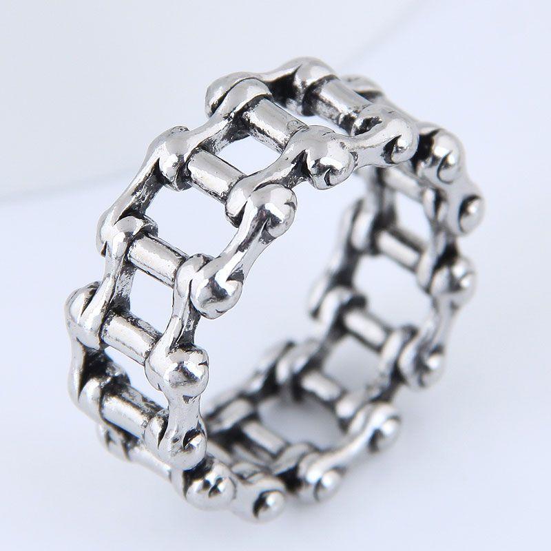 Yiwu jewelry wholesale fashion punk retro simple chain ring NHSC206212