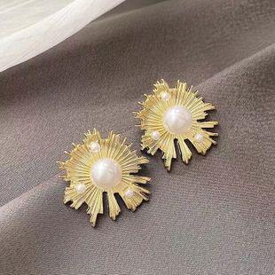Yiwu Jewelry Wholesale 925 Silver Needle Korean Fashion Sweet Sun Flower Pearl Earrings NHSC206198's discount tags