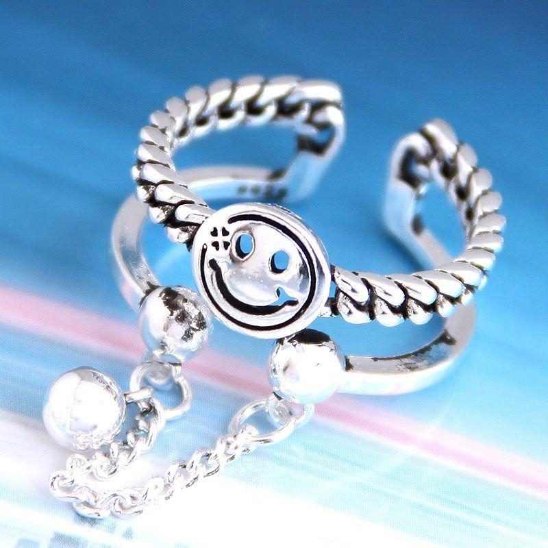 Fashion retro smiley personality open ring NHSC206229