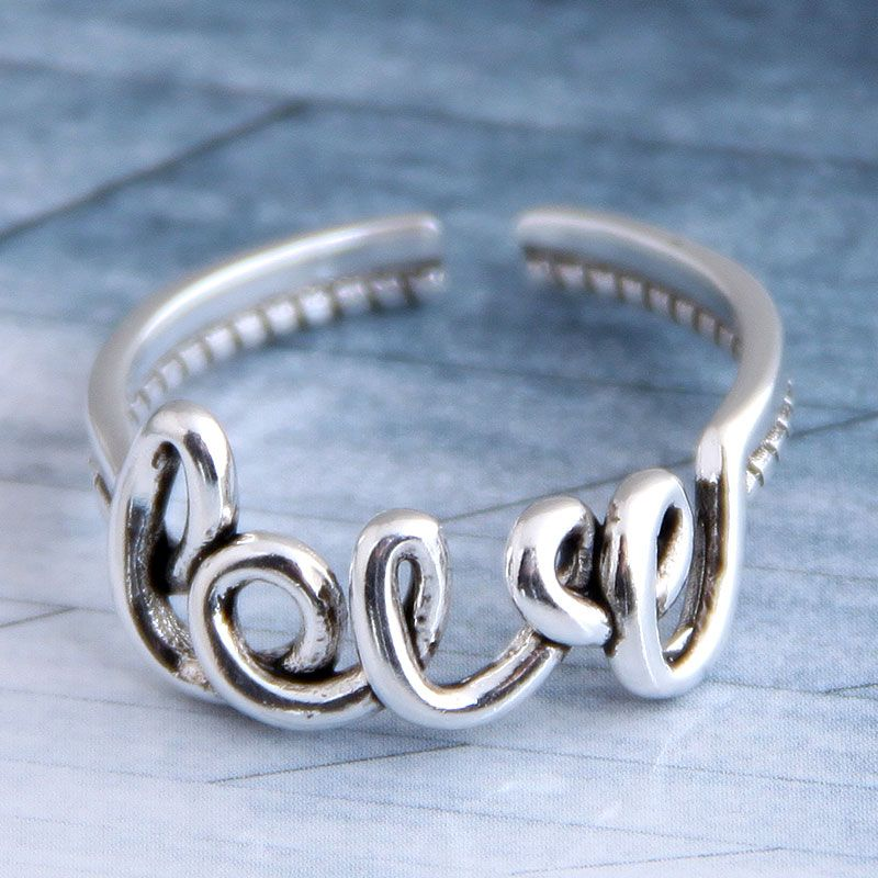 Fashion vintage LOVE personalized open ring NHSC206226