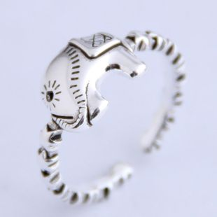Fashion vintage baby elephant personality open ring NHSC206224's discount tags