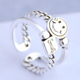 Fashion retro smiley personality open ring NHSC206233's discount tags