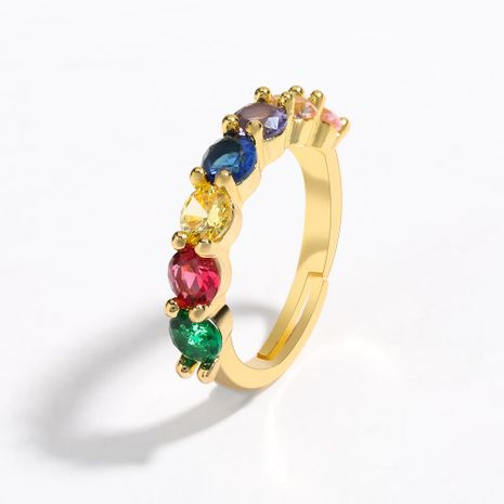 Copper Micro Inlaid Color Zircon Couple Ring Opening Adjustable Bracelet Wholesale NHJE205949's discount tags