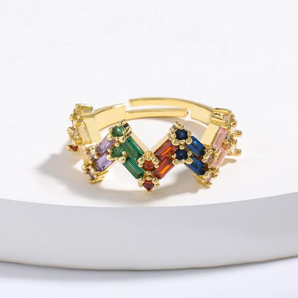 Corona cobre micro incrustaciones de color circón anillo apertura anillo ajustable NHJE205951