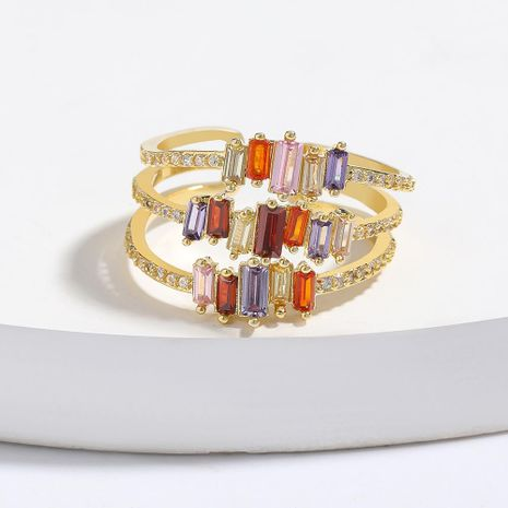 Multi-layer copper micro-inlaid colorful zircon couple ring opening bracelet NHJE205952's discount tags