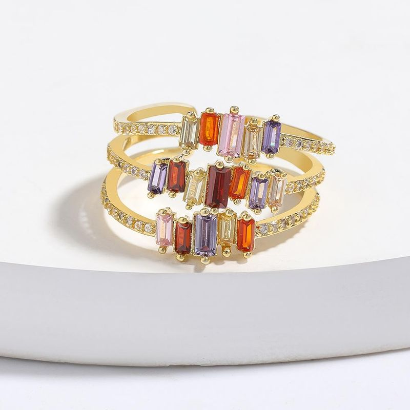 Multi-layer copper micro-inlaid colorful zircon couple ring opening bracelet NHJE205952