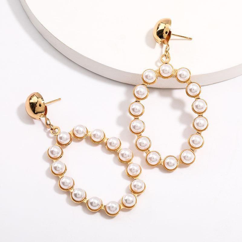 New Fashion Geometric Oval Alloy Pearl Earrings For Women Wholesale NHJE205953