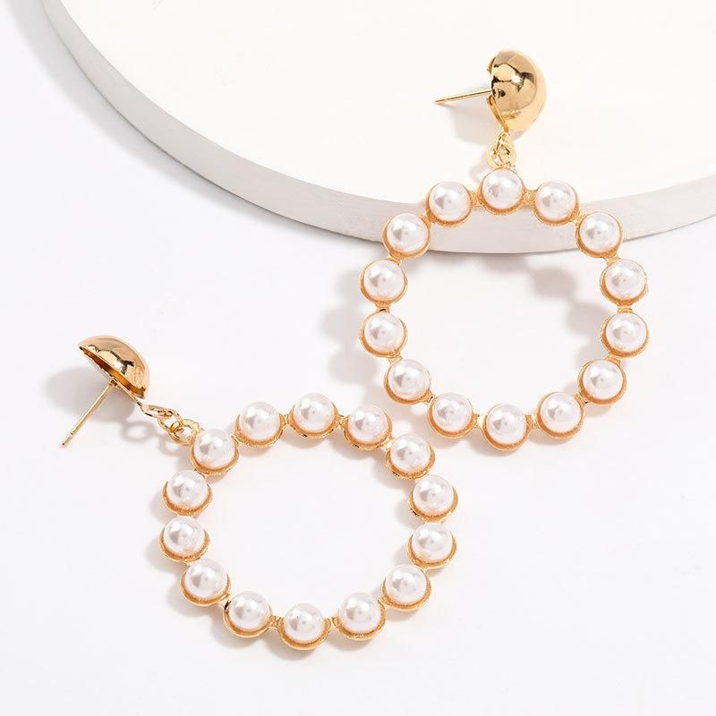 Fashion simple round alloy inlaid pearl earrings for women NHJE205954