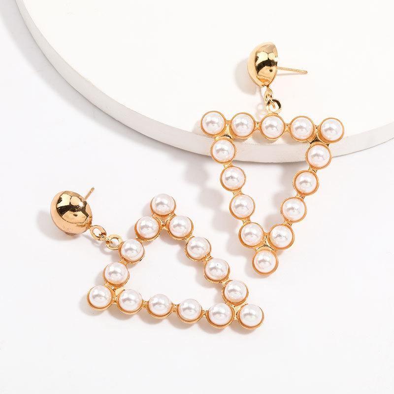 Triangle alloy pearl earrings for women retro geometric earrings NHJE205956