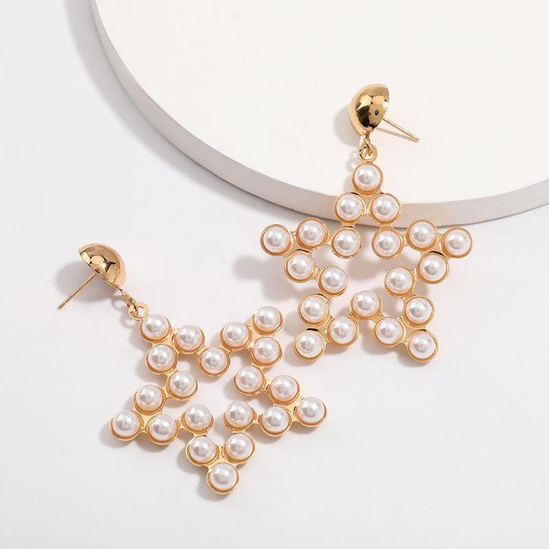 Minimalist alloy earrings with pearl pentagram female simple earrings wholesale NHJE205961