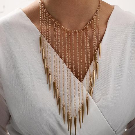 Exaggerated fashion new accessories punk wind chain tassel rivet fashion necklace neck chain NHGY205965's discount tags