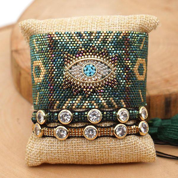 Miyuki Woven Diamond Bracelet Evil Eye Religious Totem Ethnic Style Set NHGW205976