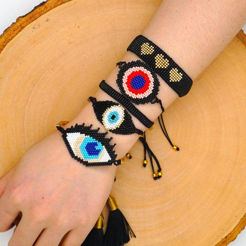 New Fashion Love Hand Woven Miyuki Mizhu Turkish Evil Eye Bracelet Set Decoration NHGW205979