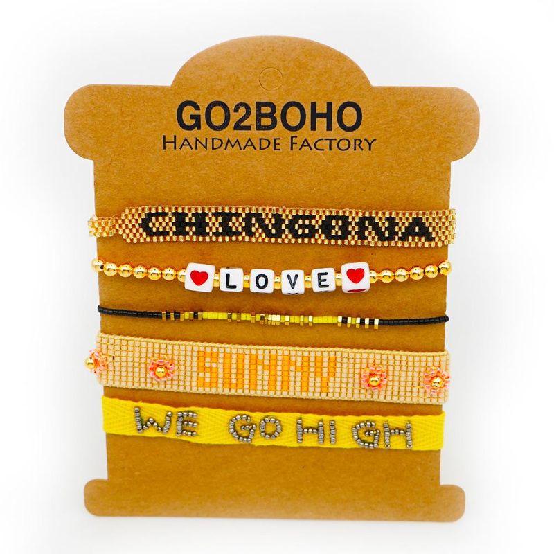 Bohemian LOVE ribbon with Miyuki hand-woven bracelet jewelry NHGW205987