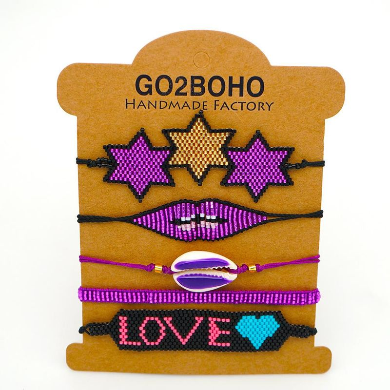 Tassel Shell Boho Ethnic Style Lip Bracelet Miyuki Rice Bead Woven Bracelet Wholesale NHGW205991