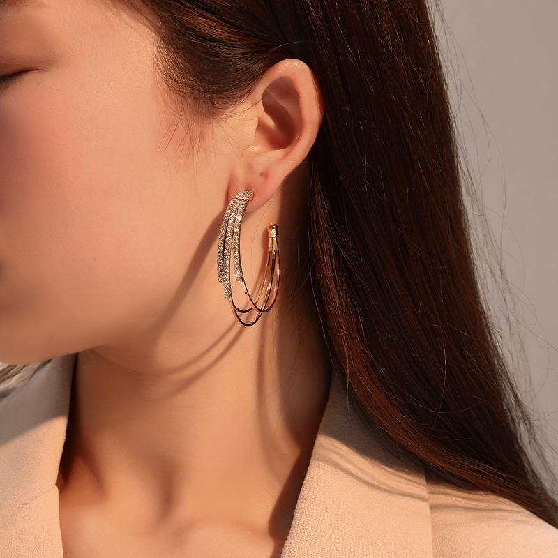 Korean fashion wild earrings female design multilayer earrings c-type earrings wholesale NHDP205993