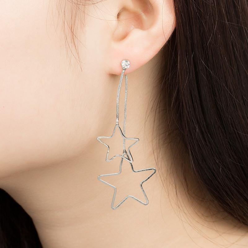New Korean Simple Size Hollow Pentagram Stars Chain Pendant Earrings Wholesale NHDP205999