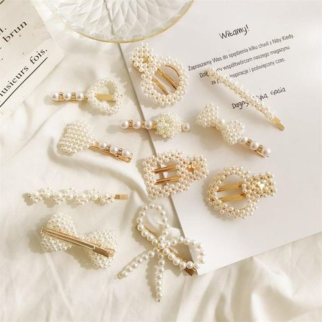 Bow pearl hairpin trend sweet love geometry cheap hairpin wholesale NHDP206001's discount tags