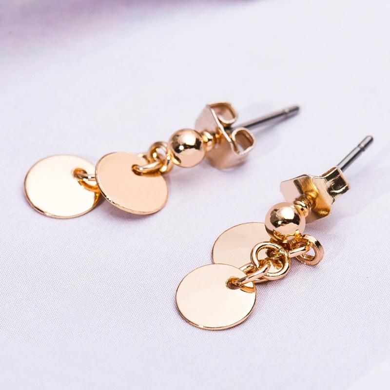 New Korean simple small disc imitation small gold coin earrings wholesale NHDP206005