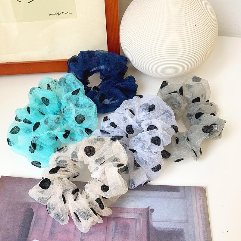 Simple Sweet Polka Dot Hair Circle Lace Hair Circle cheap scrunchies Wholesale NHOF206010