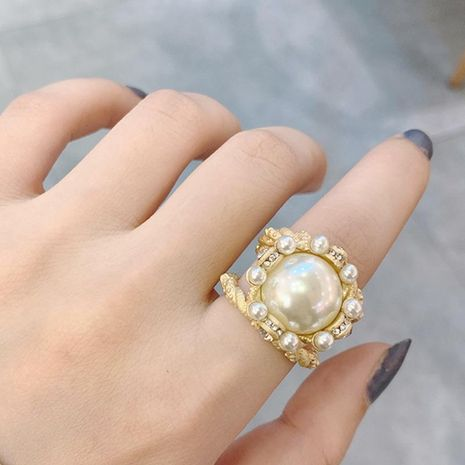 Vintage Gold Openwork Pearl and Diamond Ring Opening Adjustable Fashion Ring NHNT206023's discount tags