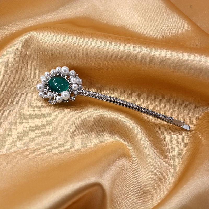 Korean New Fashion Metal Hair Clip Hairpin Pearl Crystal Headdress Wholesale NHNT206026