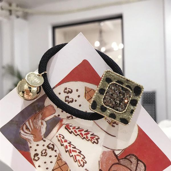 Korean hair accessories horse hair inlay Czech diamond square pendant bow high elastic hair rope cheap rubber band wholesale NHSM206031