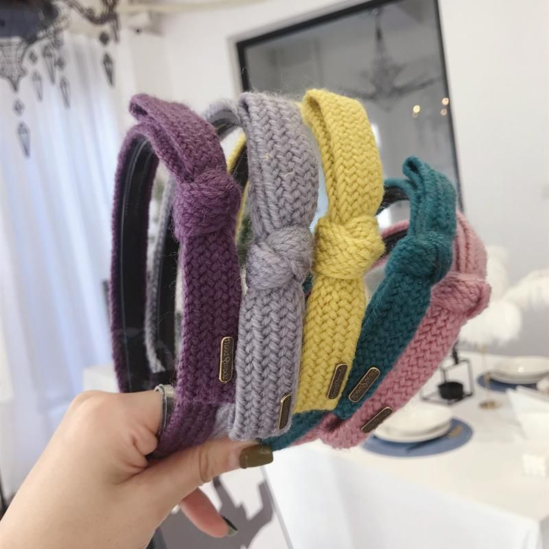 Korean Simple New Hair Accessories Knitted Knitting Bows Thin Edges Toothed Hoops Headbands NHSM206033