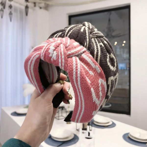 Korean new knitted wool letters stripes knotted wild wide-edge cheap hair hoop women NHSM206035
