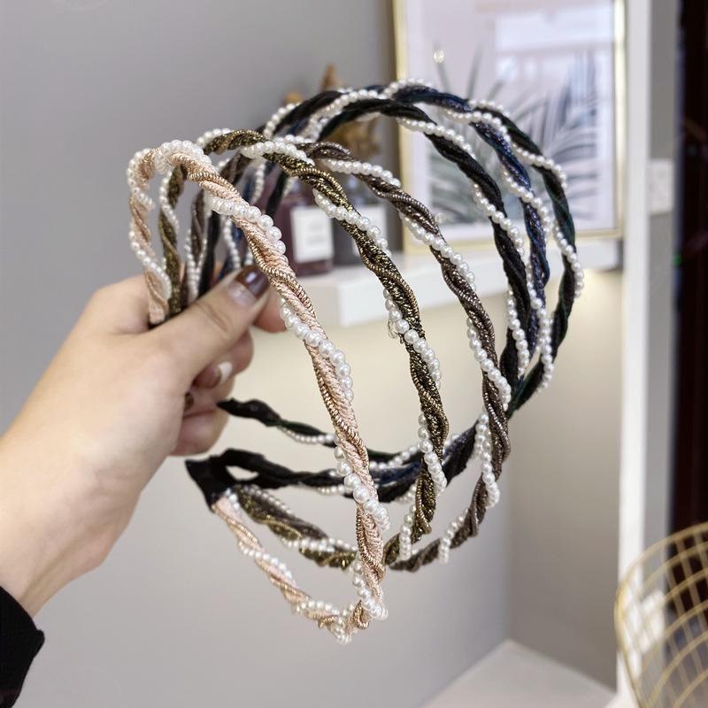 Nuevos accesorios para el cabello coreanos simples perla sinuosa onda delgada borde barato diadema al por mayor NHSM206039