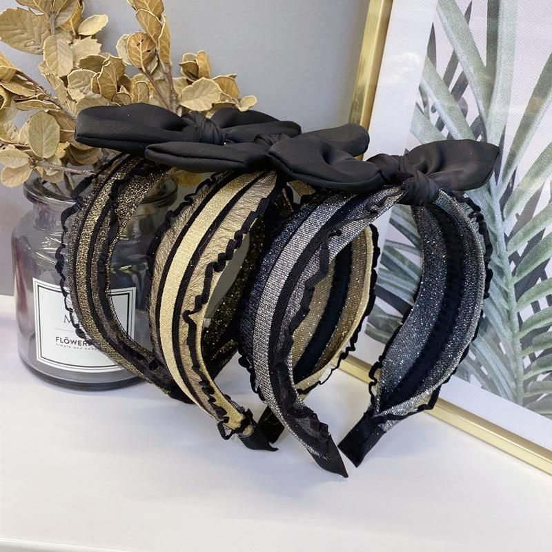Korean new style bud silk yarn bronzing bow rabbit ear cheap headband wholesale NHSM206040