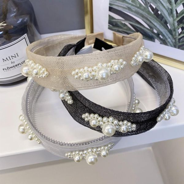 South Korea's new hair accessories mesh gauze pearl flowers with tooth cheap hair hoop ladies wholesale NHSM206042