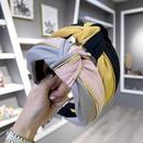 Korean simple new hair accessories hit color stitching gold rim middle knot kinks wide edge cheap hair hoop ladies wholesale NHSM206044