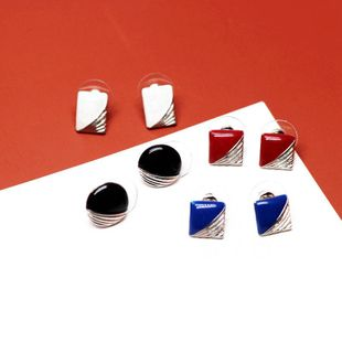 Round and square stitching drip glaze earrings black red drip glaze simple earrings wholesale NHOM206065's discount tags