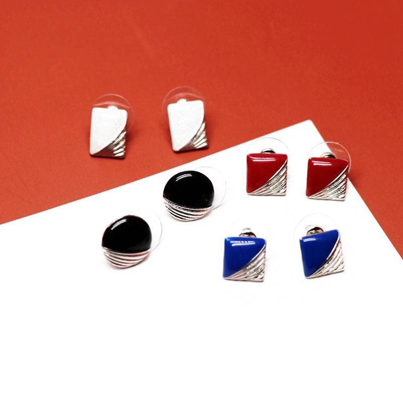 Round and square stitching drip glaze earrings black red drip glaze simple earrings wholesale NHOM206065