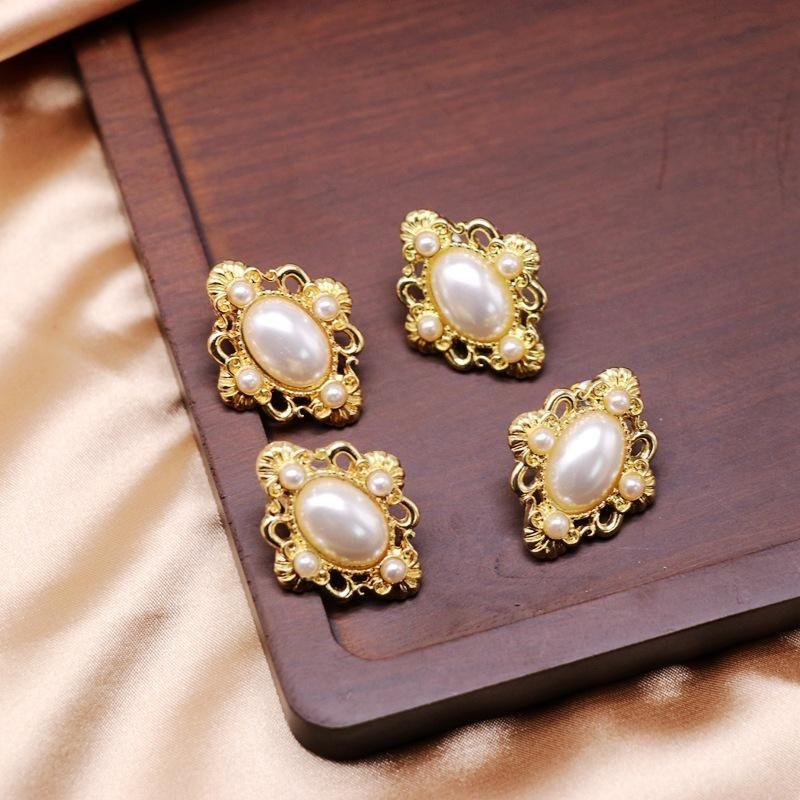 White engraved pattern hollow pearl ear clips 925 silver pin earrings oval ear clips NHOM206067
