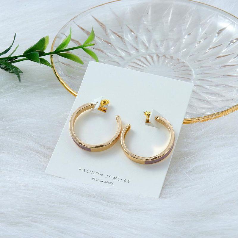 New Popular S925 Silver Pin Earrings Korea Simple Drip Color Matching Fashion C-shaped Stud Earrings NHQS206073