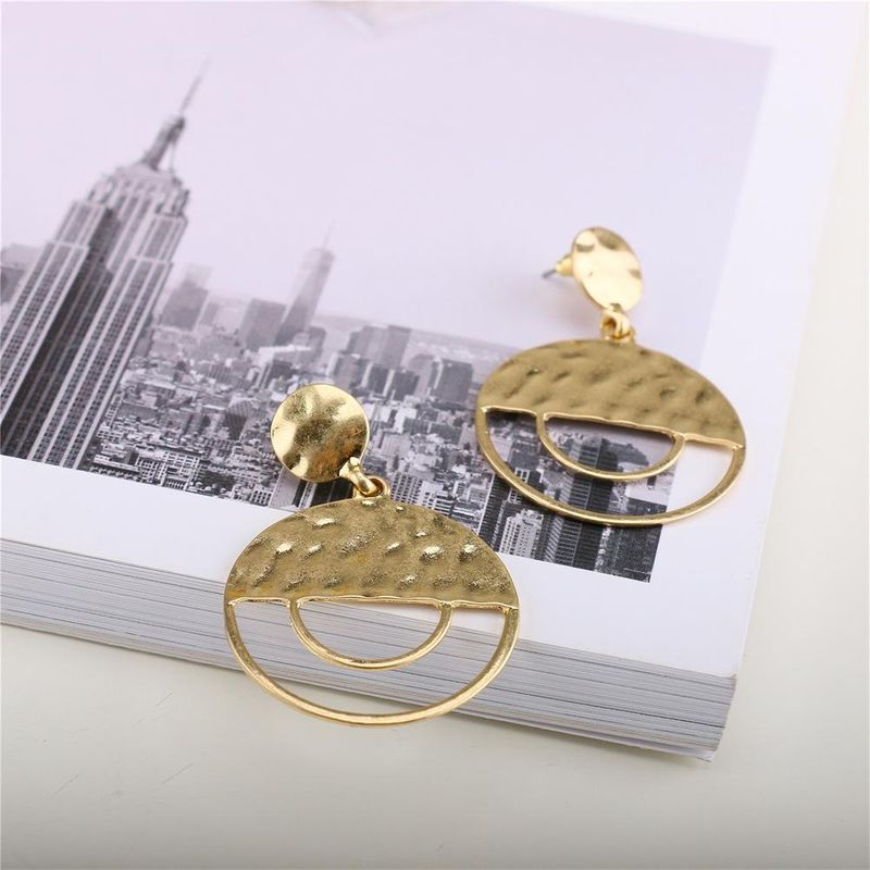 New metal exaggerated geometric earrings simple double frosted earrings wholesale NHQS206079
