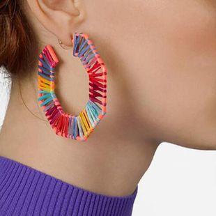 New fashion spray rubber paint geometric C-shaped octagonal raffia fashion earrings women NHBQ206082's discount tags