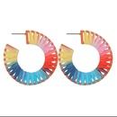New fashion spray rubber paint geometric Cshaped octagonal raffia fashion earrings women NHBQ206082