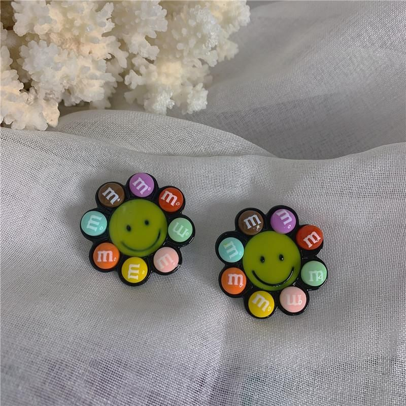Creative m bean candy color smiley flower fun student earrings NHYQ206085