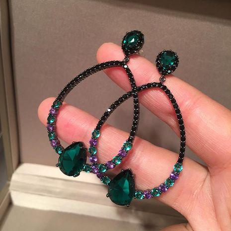 Drop Earrings Emerald Light Luxury Oval S925 Silver Pin Black Earrings Round Face NHWK206087's discount tags
