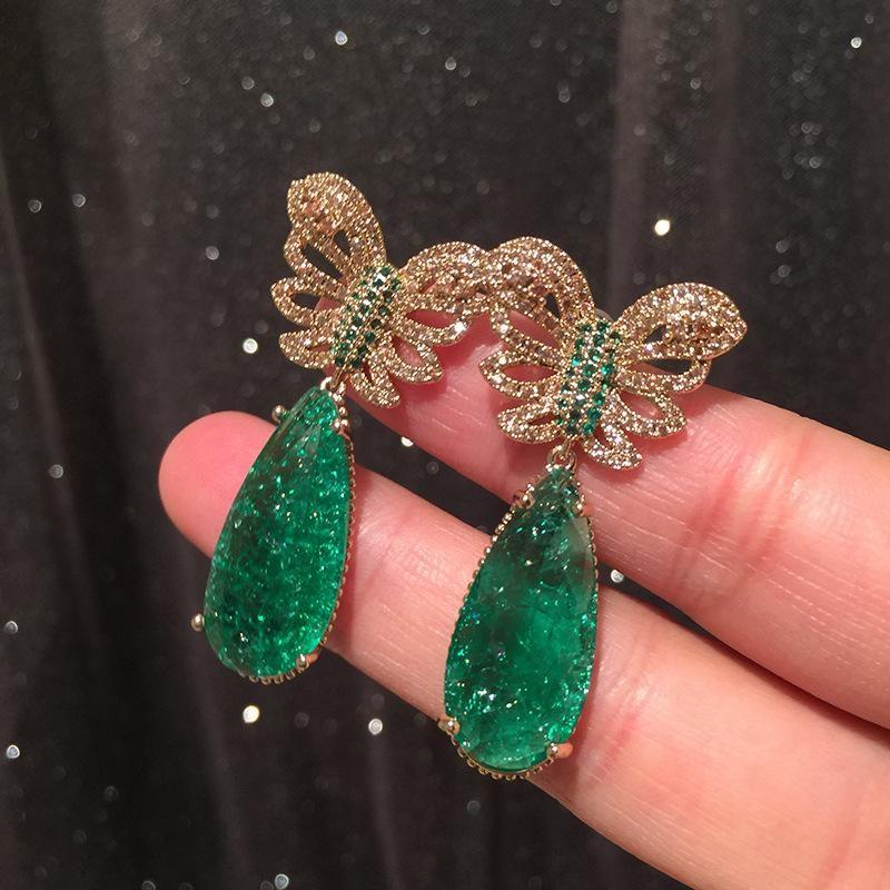 Golden Butterfly Earrings Hollow Super Fairy Emerald Tourmaline Earrings S925 Silver Needle Luxury Exaggeration Large Earrings NHWK206088